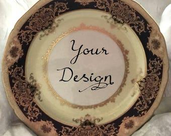 ANY DESIGN - Black and Gold  Customized Vintage Plate, Personalized China, Monogram Wedding Plate, Bespoke Tableware, Skull China