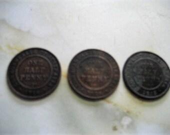 ONE HALF PENNY, 1913, Australian, rare, coins, Pennies