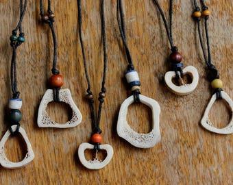 Deer Bone Necklace - Adjustable Necklace - Wood Beads Necklace - Tribal Necklace - Reversible Necklace - Boho Jewelry - Natural Necklace
