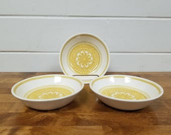 Vintage Dinnerware China Casablanca Cavalier 3 Soup Bowls Retro Yellow Ironstone