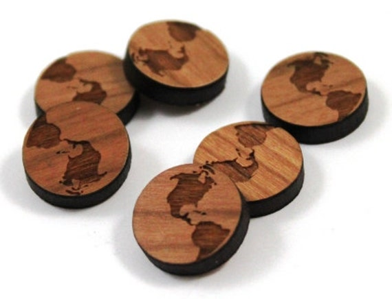 Laser Cut Supplies-8 Pieces.World Charms - Cherry Wood Laser Cut World -Earring Supplies- Little Laser Lab Sustainable Wood Products