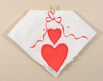 Vintage Valentine Hankie / Red White Heart Hankerchief / Sweetheart Hankie