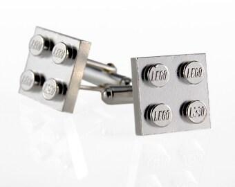 Lego Cufflinks in Sterling Silver