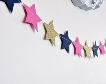 Navy Pink and Gold Twinkle Twinkle Little Star, Paper Garland, Birthday Party Decor, Nursery Decor