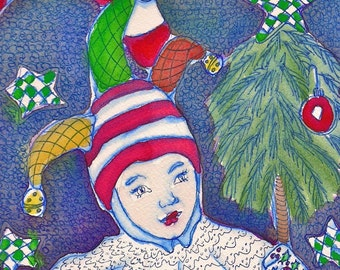 5 Christmas Holiday Note Cards Jester Tree - Lights - Candy Cane