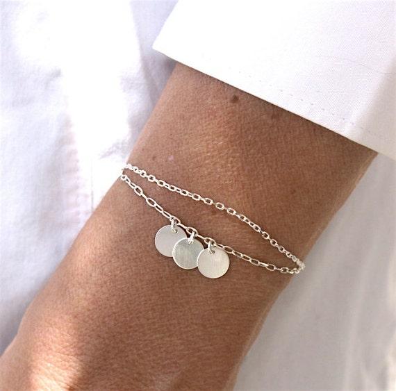 Double bracelet 3 pastiiles Silver 925 on chain