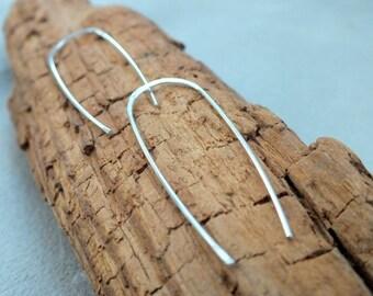 Minimalist Earrings. Sterling Silver. Simple Modern Handmade Jewelry. Dangle & Drop Earrings.