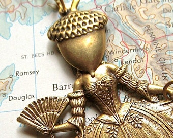 Steampunk Necklace Acorn Girl Gothic Victorian Sideshow Carnival Freak Assemblage Jewelry