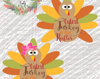 Girl and Boy Cutest Turkey in the Rafter Svg Dxf, Eps, Png | Turkey SVG | Silhouette / Cricut Cutting File | Personal & Commercial Use