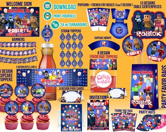 Roblox party printables for download, Roblox boy party decorations, Roblox Inivtation printable, Roblox birthday, Roblox Banners, labels
