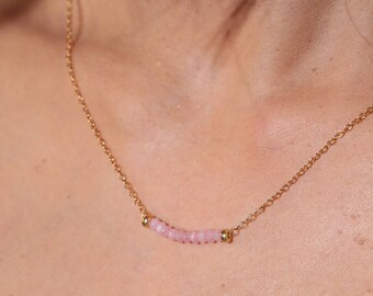 Pink Opal Bar Necklaces - Dainty 14k Gold Fill Necklace - Pink Gemstone Necklace - Delicate Gemstone Necklace Bar - Layering Necklace