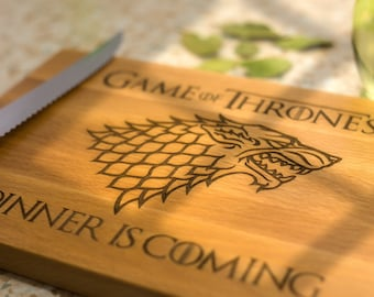 Winter is Coming, Game of thrones Christmas gift, House Stark, Houses of Westeros, Cheese board Christmas gift, Winter wolf, GOT present