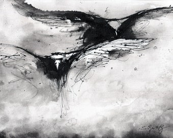 Crow art - Ink on 8x12in canvas, A4, 21x30cm - abstract birds