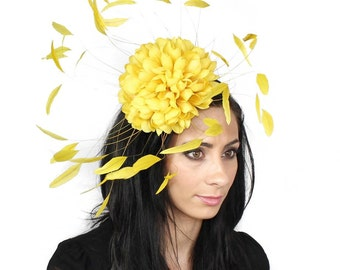 Margeaux Yellow Fascinator Hat for Weddings, Races, and Special Events With Headband