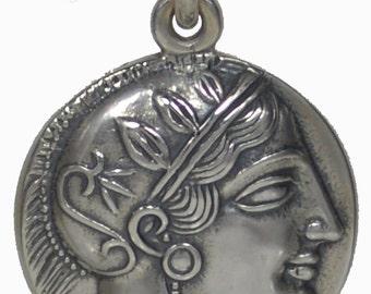 Goddess Athena SIlver 925 Pendant - Owl Of Wisdom - Tetradrachm