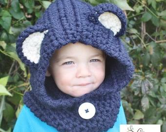 Crochet Hooded Bear Cowl, Crochet cowl, toddler crochet cowl, child crochet cowl, adult crochet cowl