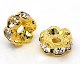 x 30 beads rhinestone white metal Rondels Gold 5 mm