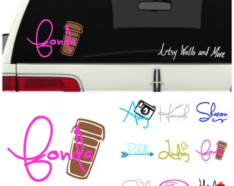 Coffee lover Name Car window  vinyl decal, Starbucks decal, car window sticker,  Coffee mug/Cup vinyl decal,  water bottle decal, Yeti decal