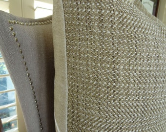 """SALE -  12"""" x 20"""", 16"""" or 18"""" or 22"""" Light Brown Tan Textured Throw Pillow Cover - Neutral Pillow - Weave Textured Tan Pillow - 11017"""