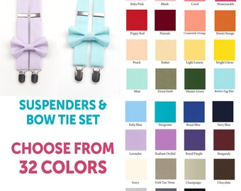 Choose your color Suspender & Bow tie set, men's bow tie, men's suspenders, boys suspenders, boys bow tie, kids bow tie, kids suspenders,