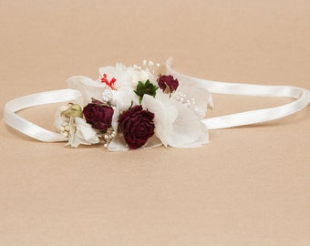 Red roses corsage red and white wedding bracelet red bride bracelet preserved flowers corsage bride bridesmaid daisies bracelet ritaflowers