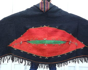 Antique Black Berber Hooded Hand Embroidered Tribal  Cape