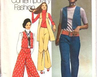 Simplicity 9316 Junior Teen Hip-Hugger, Flared Pants, Gaucho Pants, Long Vest or Short Vest Sewing Pattern Size 9/10 Vintage 1970's UNCUT
