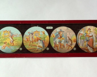 Antique french Magic Lantern Slide  , holidays,light, stained glass, new zeland