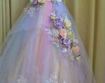 MADE to ORDER Fairy Rainbow Pastel Tones Wedding Dress Fairy Roses Wedding Dress