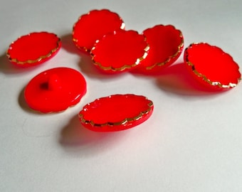 Vintage Buttons - Large Bright Red Glass Buttons - Mint Condition