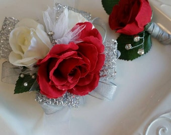 Prom Wrist Corsage Set Red and Silver with Sparkle. Wrist Corsage and Matching Boutonniere with Clear Corsage Box