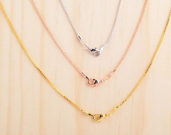 Box chain necklace, gold/rose gold/silver box chain, 18inch