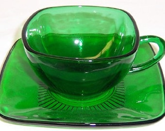 Anchor Hocking Fire King Forest Green CHARM Cup and Saucer