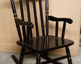 Exceptional Vintage Hitchcock Solid Wood Wooden Child Childrens Kids Rocker Rocking  Chair