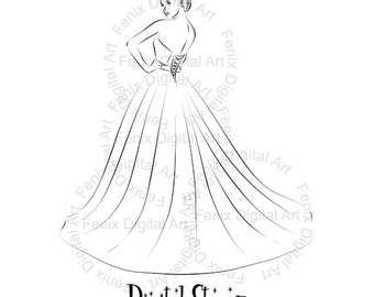 Digital Stamp,Clipart,Line art,Fashion girl,Princess,Bride,Girl graphics,Digi stamp,digistamp,fashion Illustration INSTANT DOWNLOAD