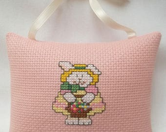 Bunny Girl With Easter Basket Cross Stitch Ornament