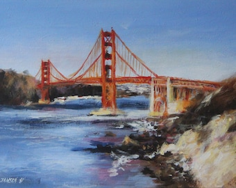 Golden Gate Bridge  San Francisco, original painting, California Painting