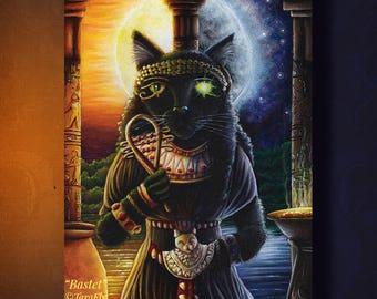 Bastet Egyptian Cat Goddess Sun and Moon Fine Art Print 5x7
