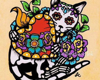 Day of the Dead CAT Tattoo Sacred Heart Dia de los Muertos Art Print 5 x 7, 8 x 10 or 11 x 14 - Donation to Shelter