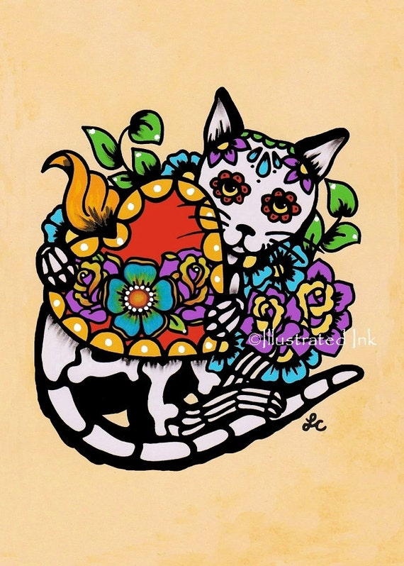 Day of the Dead CAT Tattoo Sacred Heart Dia de los Muertos Art