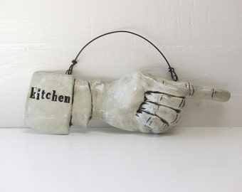 Kitchen Pointing Finger.   Fired Ceramic.  Recycled Clay.  Kitchen Sign.  Ready To Ship.