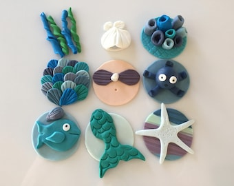MERMAID SEA DREAM  -  Fondant Cupcake, and Cookie Toppers - 1 Dozen