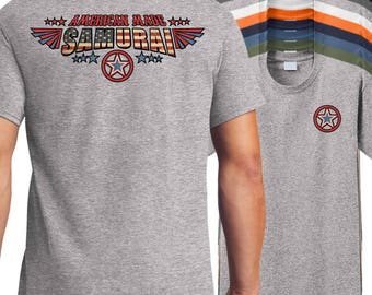 American Made Samurai T-Shirt, American samurai shirt, samurai shirt, samurai sword shirt, katana shirt, bushido shirt.