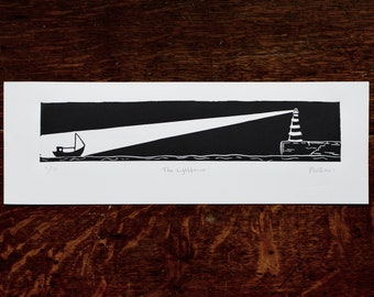 The Lighthouse Linocut