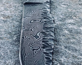 Damascus hunting/camp knife, custom damascus knives, fixed blade, hidden tang hand forged knives