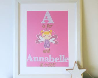 Original Nursery Collage - new baby gift - personalised name collage - bespoke collage - unique gift - christening gift - nursery