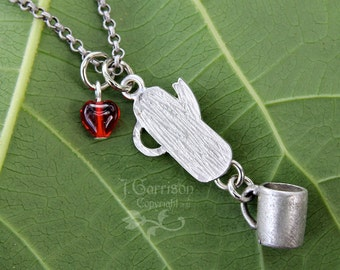 Coffee time necklace - percolator and 3D coffee mug charms, red glass heart - antiqued silver - free shipping USA - cowboy - retro style
