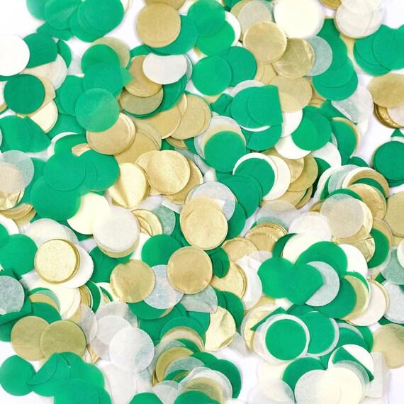 Forest Fancy Confetti, Green Cream Gold Confetti, Shred, Table Decor, Confetti Balloon, First Birthday Boy Baby Shower Woodland Rustic