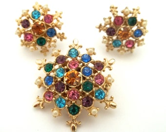 Gorgeous Pendant Brooch Matching Earrings