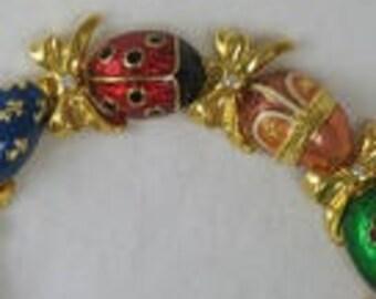 Boho Chic Adorable, Vintage Joan Rivers, Enameled Ladybug Egg Charm Jewelry Set, Jewelled Bracelet Earrings, Charming Gift